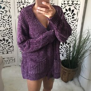 Cozy Chenille Open Cardigan with Pockets in Plum